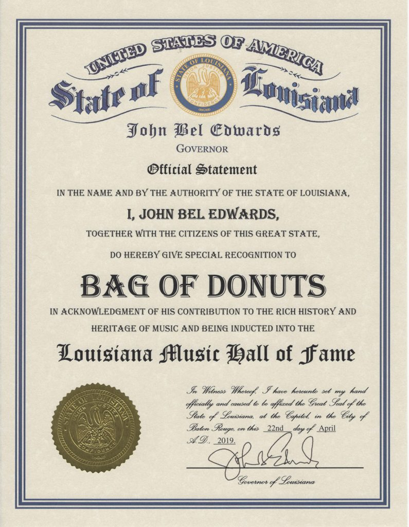 Louisiana Music Hall Fame Certificate